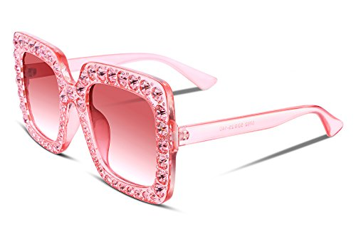 FEISEDY Women Sparkling Crystal Sunglasses Oversized Square Thick Frame - Square Glasses Pink