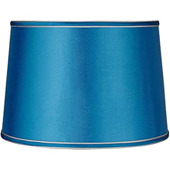 Sydnee Satin Turquoise Drum Lamp Shade 14x16x11 (Spider) - Brentwood
