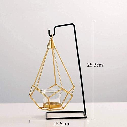 クリスマスキャンドルホルダークリエイティブ錬鉄製の幾何学的な燭台シャンデリア結婚式の小道具家の装飾金属工芸品リビングルームの装飾、B