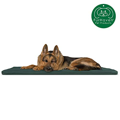 Furhaven Pet Dog Bed Kennel Pad | Reversible Two-Tone Water-Resistant Crate or Kennel Foam Mat Pet Bed for Dogs & Cats, Green/Gray, Extra Large