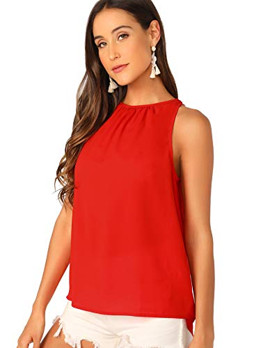 Verdusa Women's Casual Sleeveless Keyhole Back Halter Neck Cami Top Red S