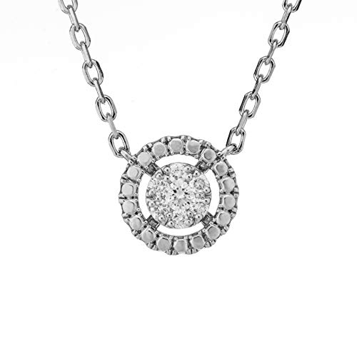 Round Shape Pavé Cluster Diamond Necklace for Mom, 0.12cts, Sterling Silver