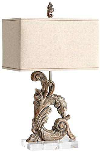 - Cyan Design Table Lamp Posy 1-Light Limed Gracewood White Liner Raw Cotto