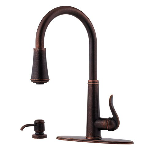 - Pfister GT529-YPU GT529-YPU Ashfield 1-Handle Pull-Down Kitchen Faucet with Soap Dispenser, Rustic Bronze