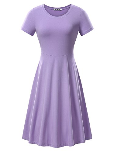 Women Short Sleeve Round Neck Summer Casual Flared Midi Dress (Medium, Purple 2)
