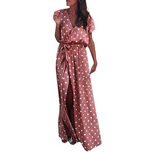 - Women Sexy Pink Wave Point V-Neck Maxi Dress Fork Opening Long Dress with Belt