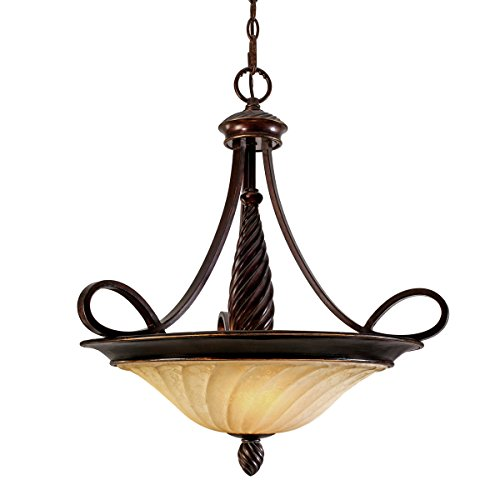 Golden Bronze Bowl Pendant - Golden Lighting 8106-3P CDB Torbellino Pendant Bowl, Cordoban Bronze Finish