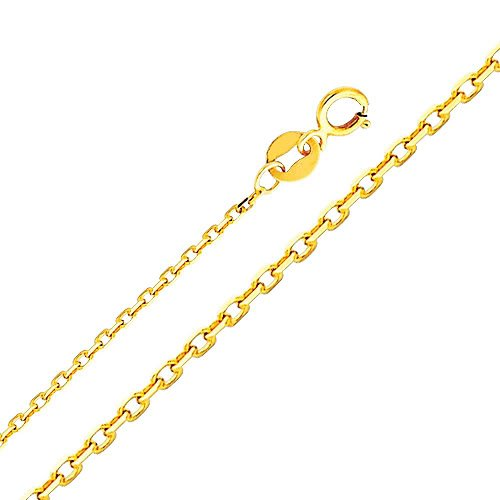 14k Yellow Gold 0.9mm Oval Angled Cut Rolo Cable Chain Necklace with Spring Ring Clasp - 16