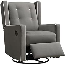 Baby Relax Mikayla Swivel Gliding Recliner, Gray Microfiber