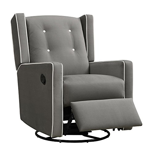 Swivel Glider Rocker Chair - Baby Relax Mikayla Swivel Gliding Recliner, Gray Microfiber