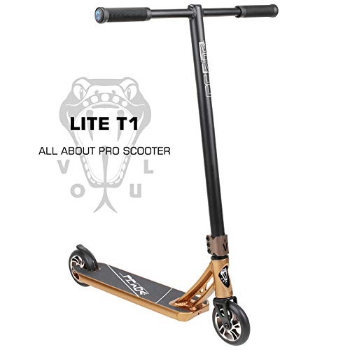 VOKUL LITE Series Complete Pro Stunt Scooter for Kids/Teens, with Reinforced Frame -Lightweight Aluminum Handlebars and 120mm Metal Core Wheels (Gold) (Vokul Pro Scooter)