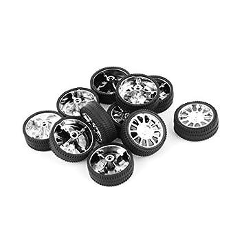 Amazon.com : eDealMax 10 piezas de RC Vehículo de goma cubierta de la rueda del Robot de juguete de bricolaje 26mm Dia Llantas Negro : Baby