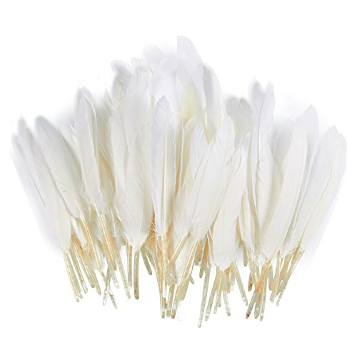 100 Piece Goose Feathers, Natural Feathers for Crafts, DIY, Wedding, Bridal Shower, and Party -