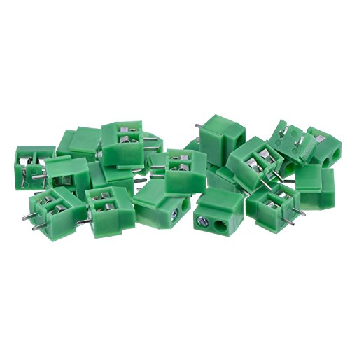 KANGWEI PCB Mount Screw Terminal Block Connector, 100 Pack (2 Pole 5 mm Pitch, 10A 300V) (Pcb Terminal)