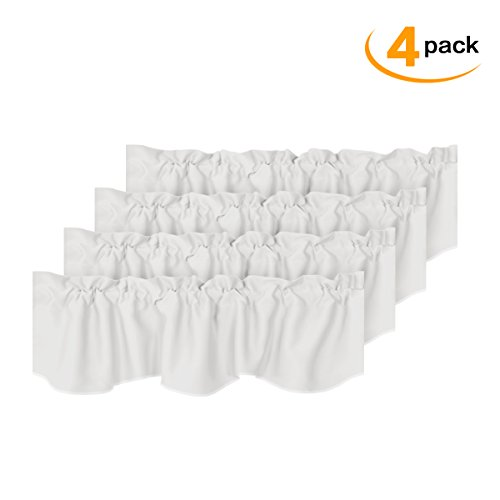 White Blackout Valances Room Darkening Window Valances for Living Room Rod Pocket Curtain Valances for Kitchen 4 Pack, 52 inch x 18 inch (White Window Valance)