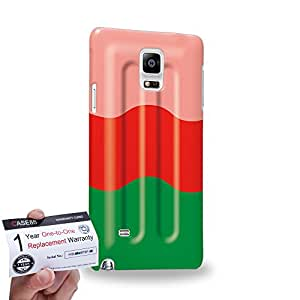 Case88 [Samsung Galaxy Note 4] 3D impresa Carcasa/Funda dura para & Tarjeta de garantía - Art Hand Drawing Watermelon Flavor Ice Pop