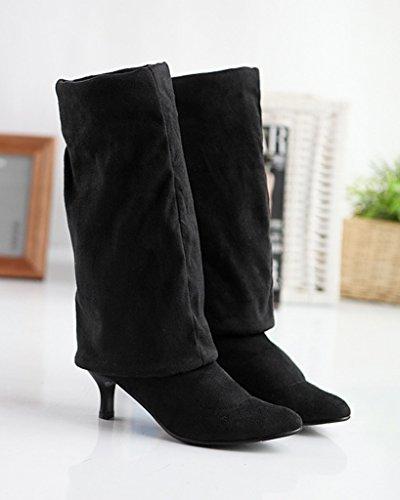 Minetom Damen Winter Overknee Stiefel Wildleder Hoher Absatz Schuhe Lange Stiefel Mode Schenkel Hohe Stiefel Schwarz