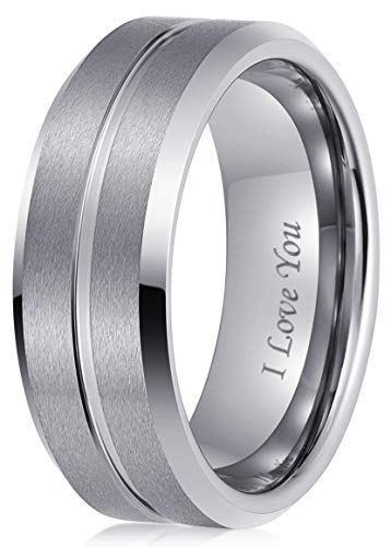 LaurieCinya Tungsten Carbide Ring Men Women Wedding Band Engagement Ring 8mm Comfort Fit Engraved 'I Love You' Silver