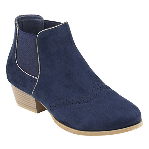 Beston EJ22 Women's Stacked Heel Wing-Tip Chelsea Ankle Booties Run Small, Color Navy, - Tips Wing Womens
