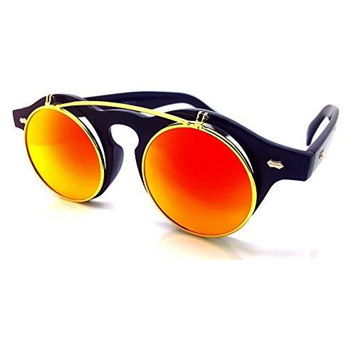 UP de Gafas COOL Negro Steampunk hombre mujer mod VINTAGE sol Rojo Doble KISS® del unisex Lente de retro FLIP rYqYwEA