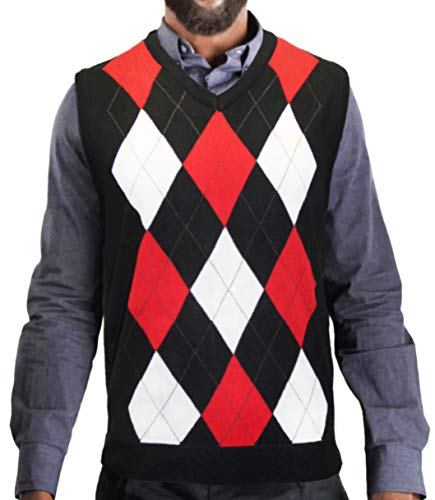 Blue Ocean Argyle Sweater Vest-2X-Large Black/White