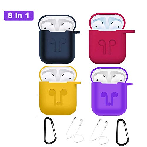 - Airpods Case, Airpods Accessories Kits, 8 in 1 Protective Silicone Cover Skin& AirPods Accessories Shockproof Case Cover Portable(Blue Yellow Rose red Purple)