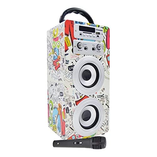 chollos oferta descuentos barato DYNASONIC Altavoz Bluetooth Portatil Karaoke con Micrófonos Incluidos Lector USB y SD Radio FM Modelo 025 1 Micrófono