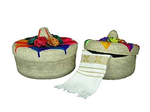2 Pack Mexican Handmade Palm Baskets with Sombrero lids and 1 Woven Napkin Cloth (servilleta Mexicana) 100% Cotton Eco Friendly Tortilla Warmer (tortillero) for Party Fiesta Decoration