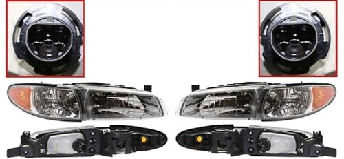 Discount Starter and Alternator GM2503170 GM2502170 Pontiac Grand Prix Replacement Headlight Pair Plastic Lens Without Bulbs