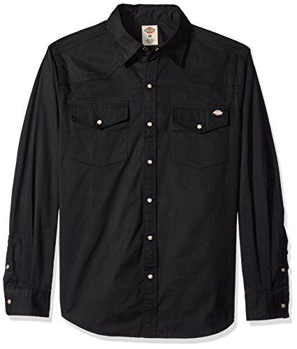 Dickies Men's Relaxed Fit Long-Sleeve Western Twill Shirt, Black, ()
