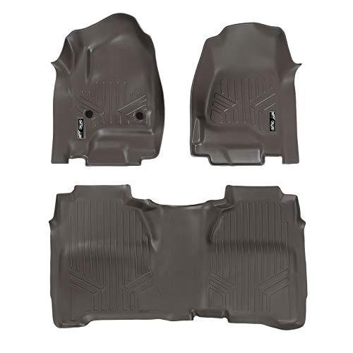 (MAX LINER A3136/B3136 Cocoa Custom Fit Floor Mats 2 Row Liner Set Crew Cab 2014-2018 Silverado/Sierra 1500-2015-2019 2500/3500 HD)