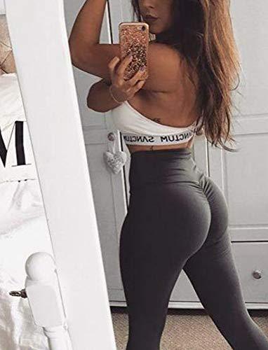 SEASUM Women Scrunch Butt Yoga Pants Leggings High Waist Waistband Workout Sport Fitness Gym Tights Push up L,Black,Large by SEASUM (Image #6)