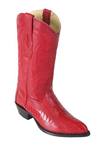 Leather Boots Toe Altos Leg Western Genuine Men's Los Red J Ostrich fOzUXPfZS