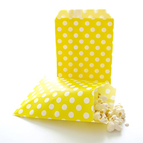 Yellow Party Bags, Kids Candy Birthday Giveaway Loot Sacks, Party Goodie Bag, Yellow Polka Dot Bags (25 Pack) ()