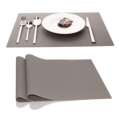 IPHOX Large Silicone Mats Table Mats Placemats Countertop Protection, Place Mats for Kitchen Dining Table Heat Resistant Baking Mat, Tablemat for Baby Kid Children, 17.7″x12.6″ Inches, 1m (Light Gray)