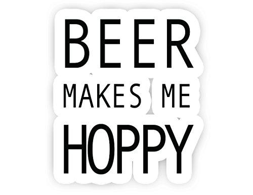"""Beer Makes Me Hoppy Beer Stickers - 2.5"""" Vinyl Decal - Laptop, Macbook, Car, Decor, Window Vinyl Decal Sticker"""