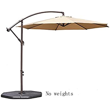 Le Papillon 10 Ft Offset Hanging Patio Umbrella Aluminum Outdoor Cantilever  Umbrella Crank Lift, Beige