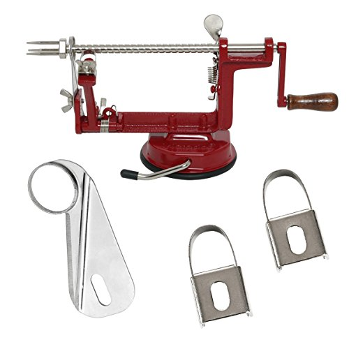 Johnny Apple Peeler with Suction Base VKP1010 by VICTORIO + (1) additional Coring &Slicing Blade VKP1010-2 + (2) additional Peeling Knifes VKP1010-1 by Victorio Kitchen Products (Image #1)