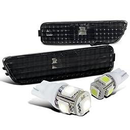Volkswagen Golf/Jetta MK4 Black Side Marker Bumper Lights+White T10 LED Bulbs