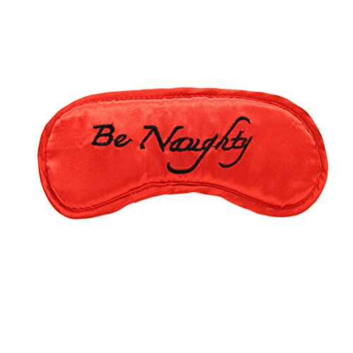 Satin Blindfold Brightly Colored Eye Mask with Elastic Head Band for Couples Flirting(Black Letter)