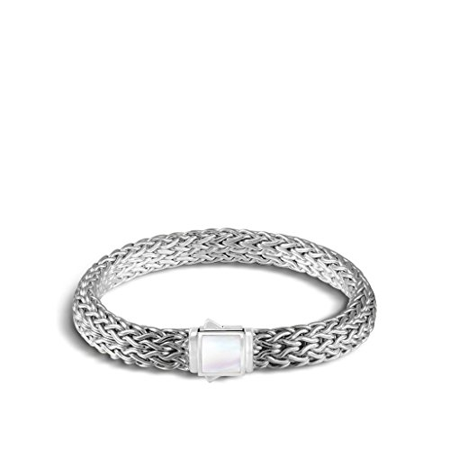 John Hardy WOMEN's Classic Chain Silver Medium Reversible Bracelet with Black Sapphire and White Mother of Pearl, Size M - BBS904011RVBLSMOPXM