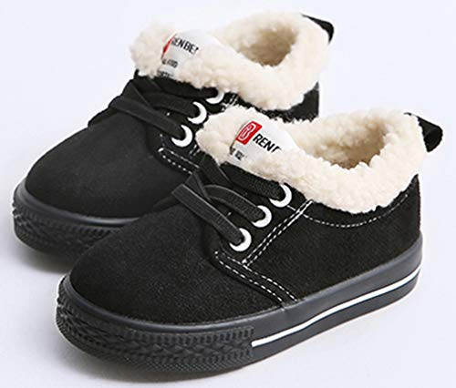 VECJUNIA Boy's Girl's Casual Thicken Flats Shoes Low Top Snow Boots (Black, 10 M US Toddler) by VECJUNIA (Image #1)
