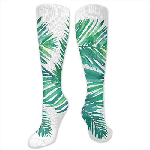 Compression Socks Tropical Leaves Watercolor Womens Winter Sock Decor Tight Stocking For Girls Men Boys Teen