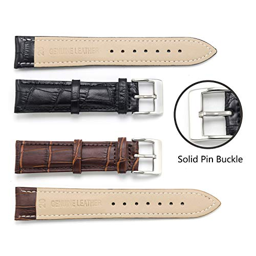 dc8554a51d4 CIVO 2 Packs Genuine Leather Watch Bands Top Calf Grain Leather Watch Strap  16mm 18mm 20mm