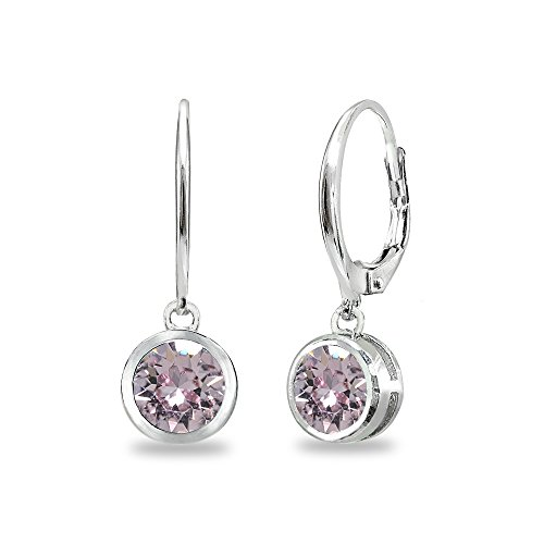 Sterling Silver Pink 6mm Round Bezel-Set Dangle Leverback Earrings Made with Swarovski Crystals
