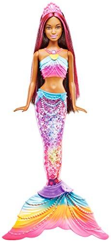 Barbie Dreamtopia Mermaid Rainbow Lights Doll, Dark Brown & Pink Hair (Tub Rainbow Water)