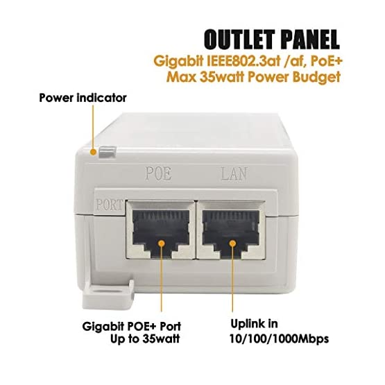 PLUSPOE 30W Gigabit PoE Injector Adapter, 10/100/1000Mbps RJ-45, IEEE 802.3af / 802.3at Compliant, up to 100 Meters (325… 41RnLJDQ1UL. SS555