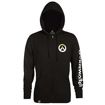 Overwatch Men's Logo Zip-Up Hoodie (Black, Small)