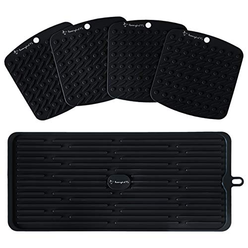 Premium Silicone Trivet Set - Pot Holders and Oven Mitts - Hot Pads Mats - Dish Drying Mat, Sink Mat for Kitchen - Trivets for Hot Dishes - Jar Opener Gripper Pad - Heat Resistant - Potholders - Black