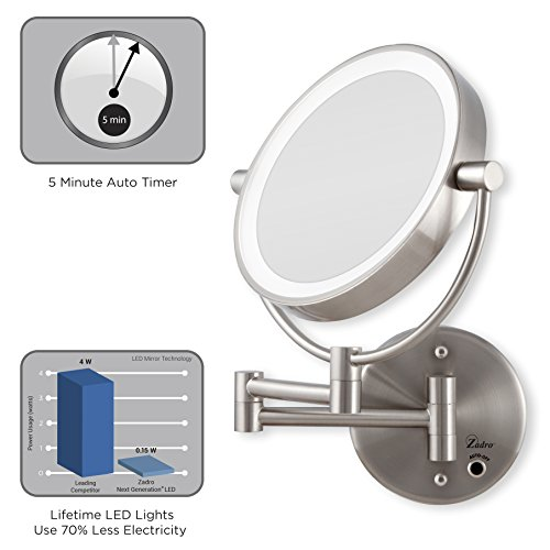Zadro Satin Nickel Cordless Led Lighted Wall Mount Mirror